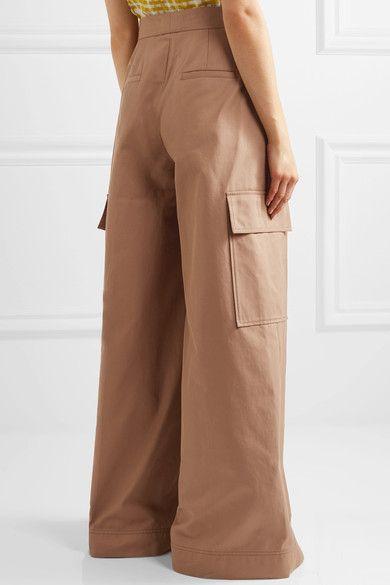 MSGM - Cotton-twill Wide-leg Pants - Tan