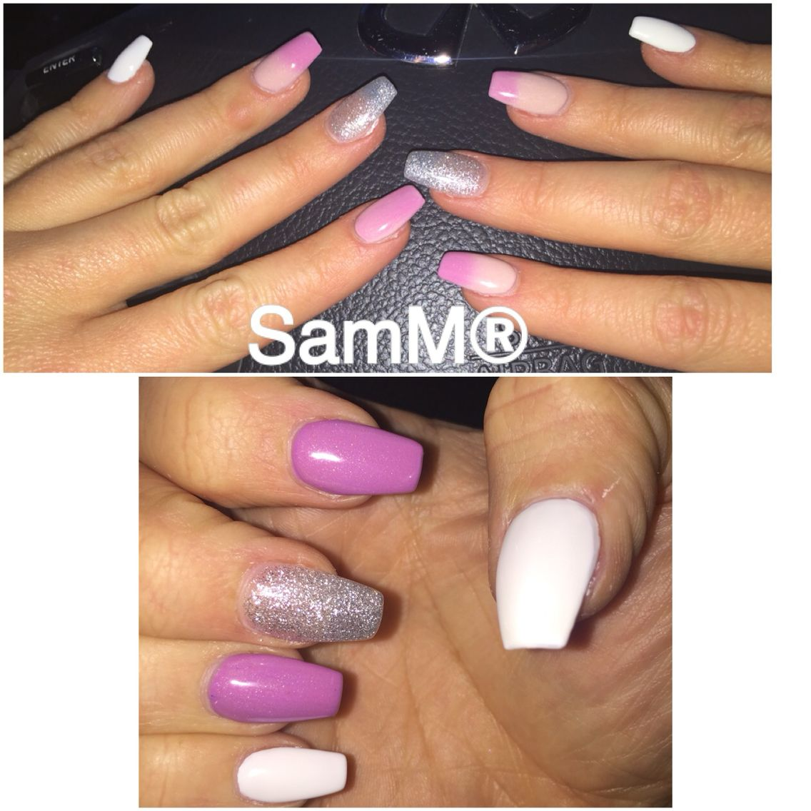 Acrylic Nails With Silver Glitter White Pink Mood Change Gel Polish