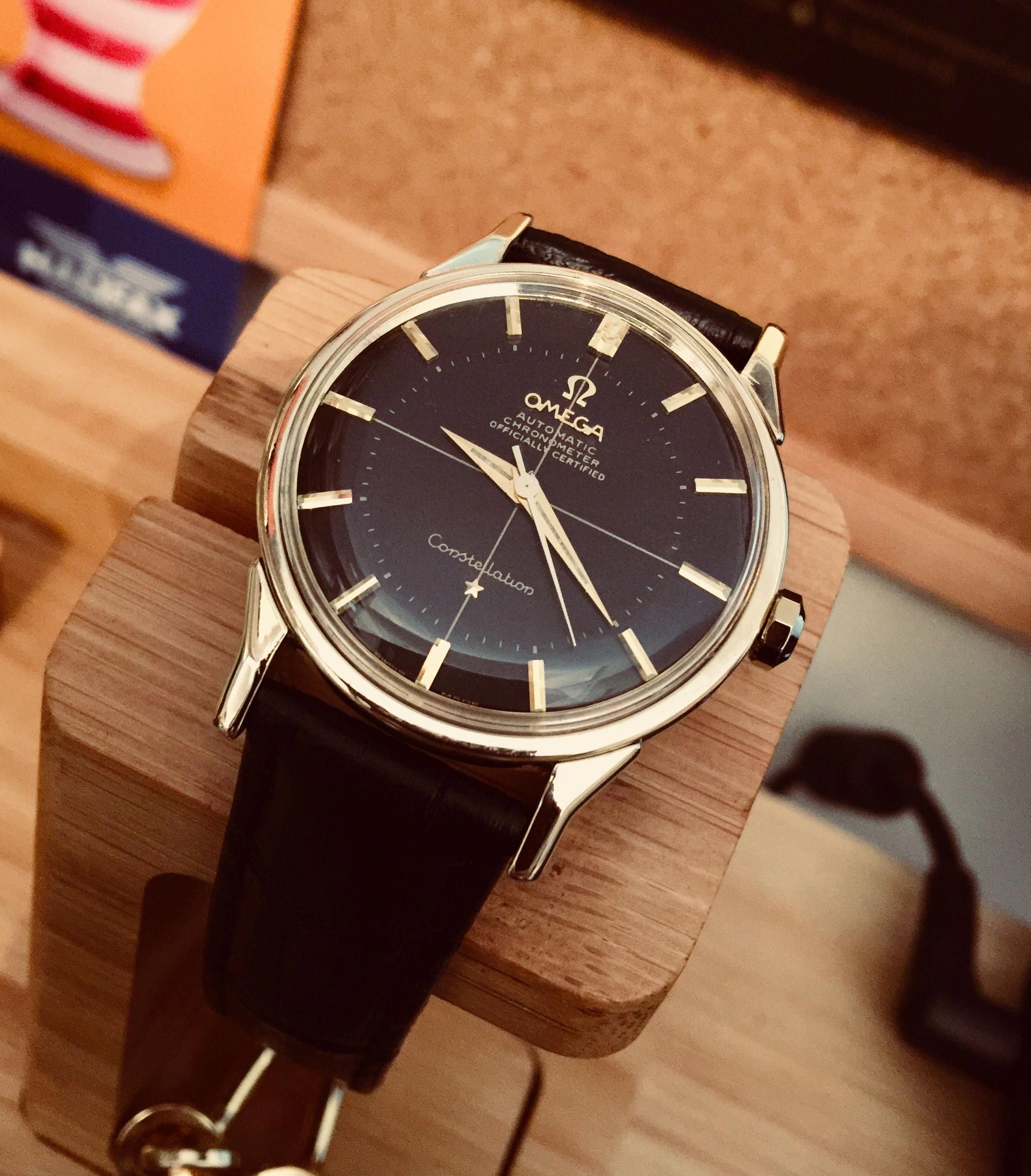 0b7d5e27fc38 Omega men s Constellation pie pan Cal 552 Gold Capped Black face dial  Crosshair 1960s Automatic movement  MensWatches