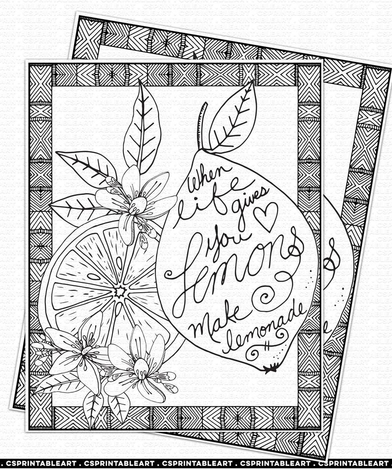 Lemon Coloring Page Instant Download Lemons To Lemonade Positive Quote Printable Wall Art Inspirational Print Diy Coloring Book Page Coloring Pages Diy Coloring Books Inspirational Prints
