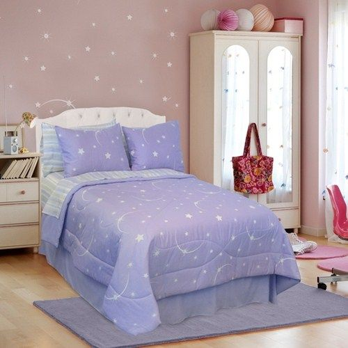 Lilac Bedroom Accessories Blue Teen Girl Bedding Sets: Stellar Purple Glow In The Dark Moon And Star Bedding By