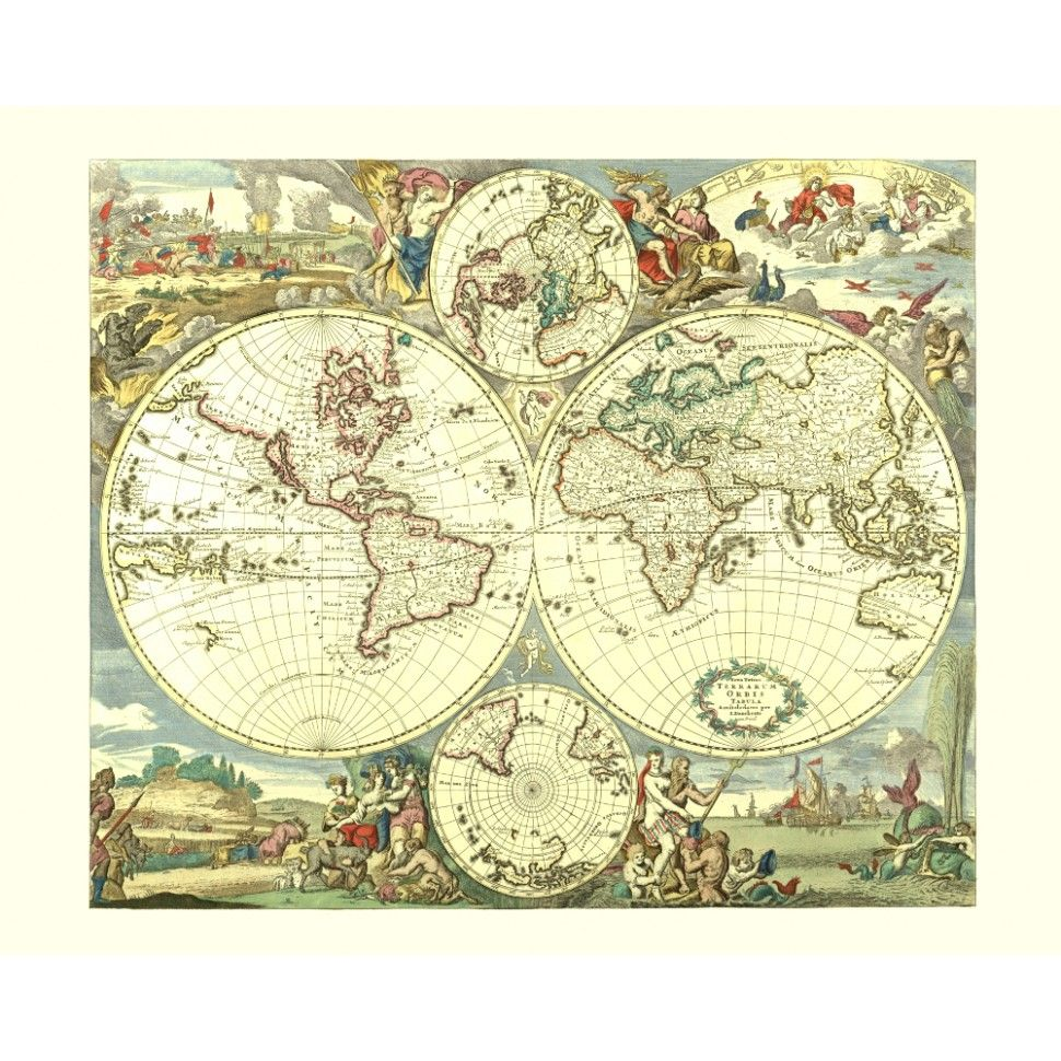 World vintage map poster vintahe world map poster for wall design handmade paper print map gumiabroncs Image collections