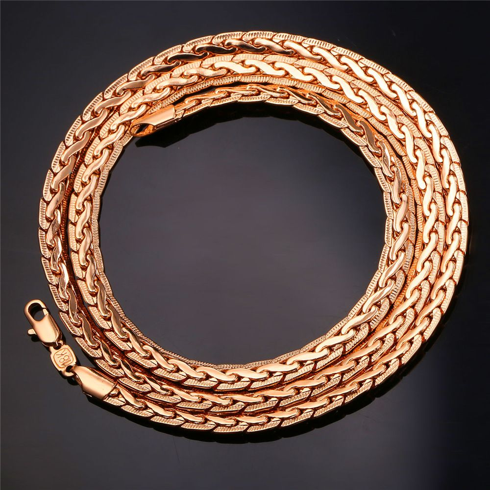 U gold color snake chain jewelry trendy chain necklace bracelet