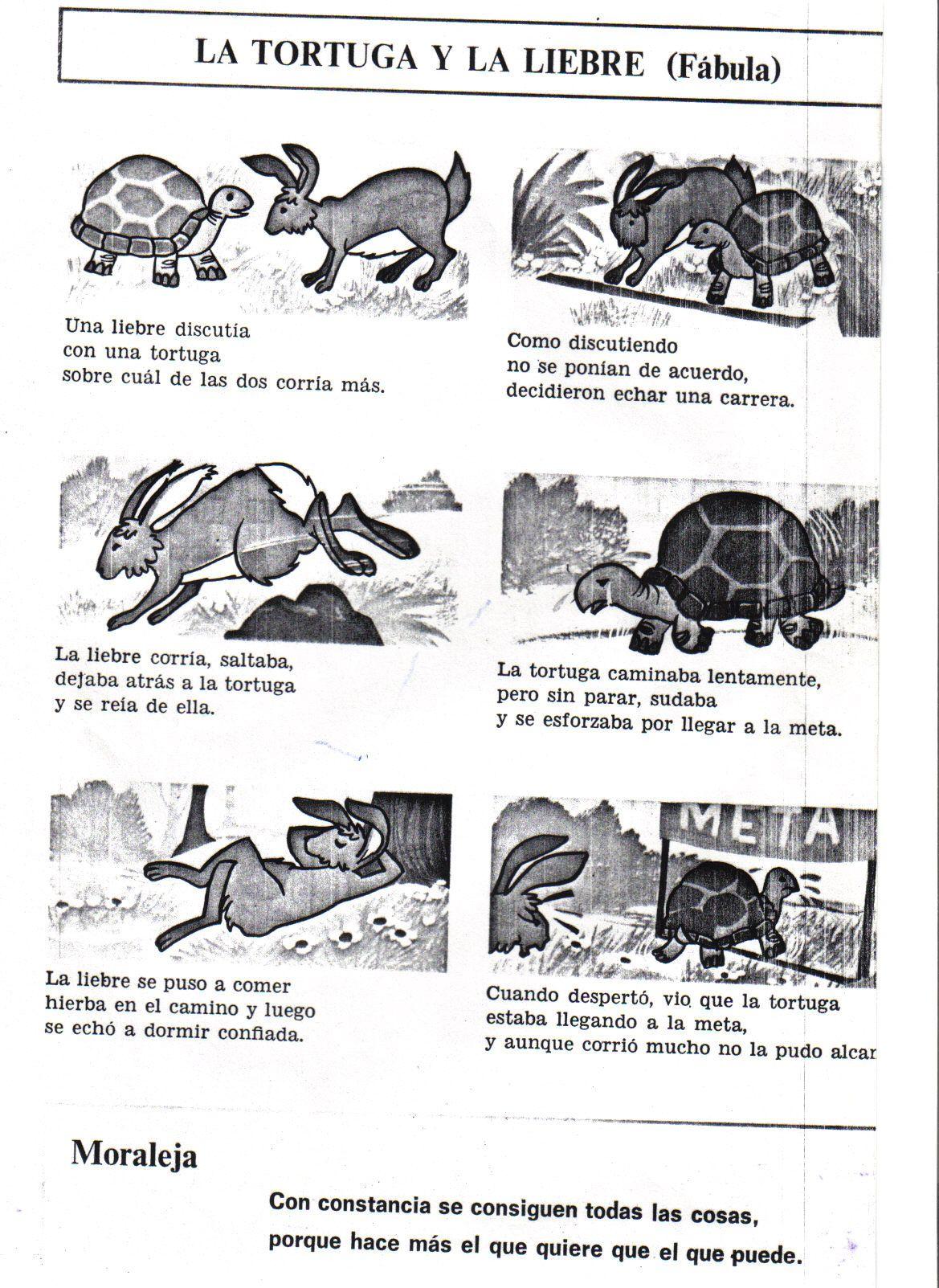 la tortuga y la liebre fábula | Cuentos | Pinterest