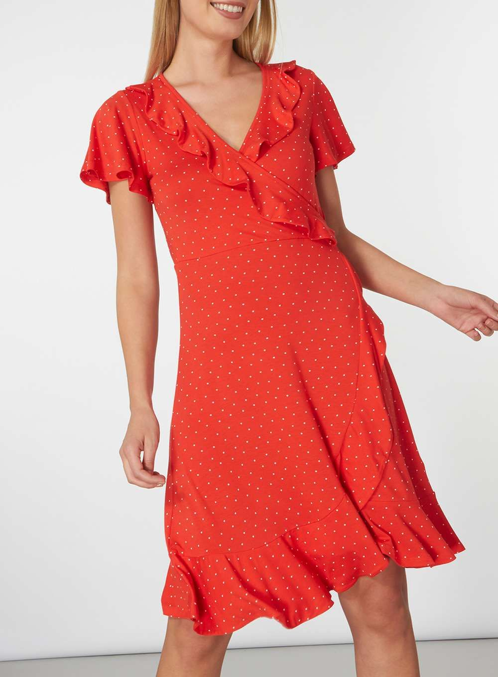 Red pin spot ruffle wrap dress august birthday buys pinterest