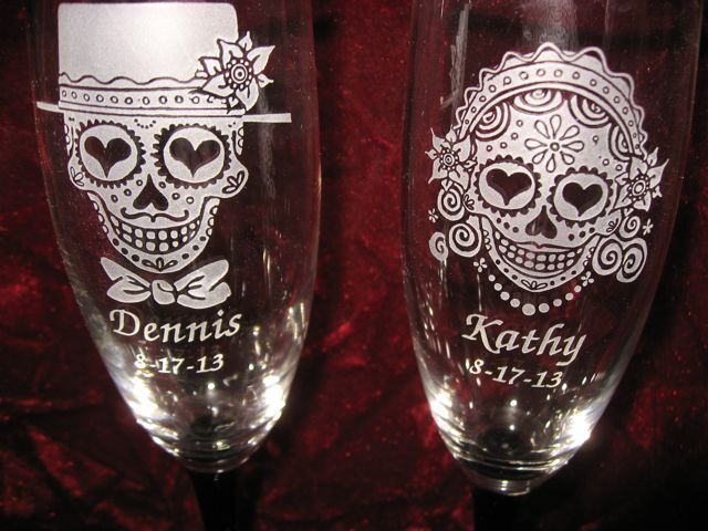 Day Of The Dead Wedding Gifts: Personalized Engraved Sugar Skull Bride And Groom