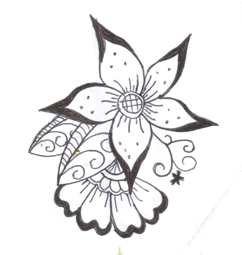 Henna Design Line Art : Flower henna designs by komekoro on