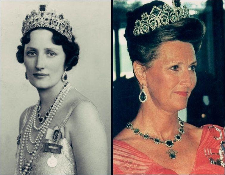 Tiara de Esmeraldas - Casa Real de Noruega Tiara neoclásica de diamantes y esmeraldas representando volutas y madreselvas, realizada por el joyero imperial francés Bapst en 1804 para la Emperatriz Josefina, esposa de Napoleón.