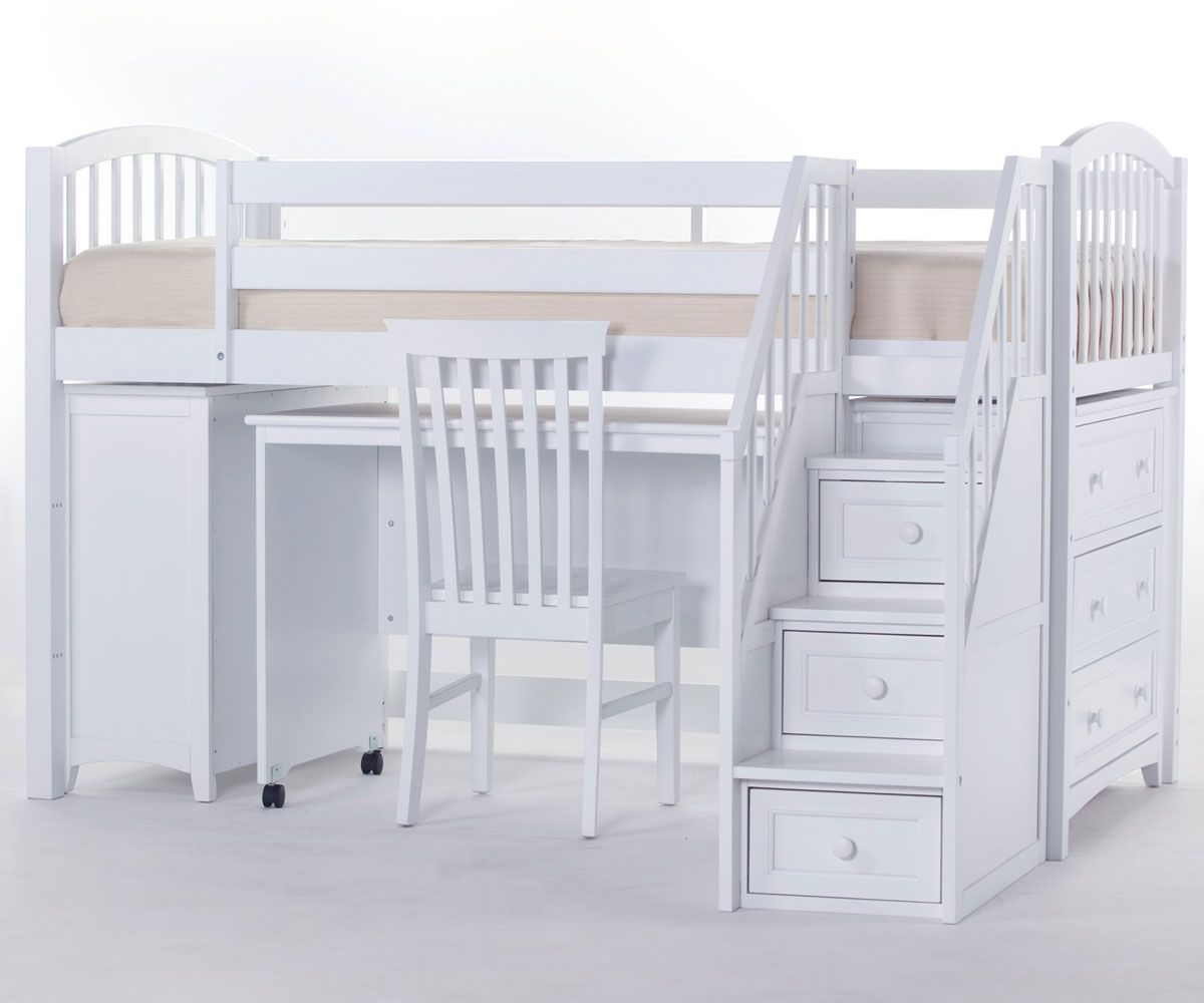 Kids low loft bed  School House Junior Store and Study Low Loft Bed with Stairs White