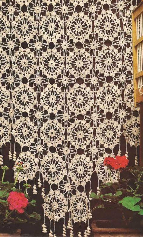 Cortina de ruedas a Crochet   tejido   Pinterest   Cortinas, Ruedas ...
