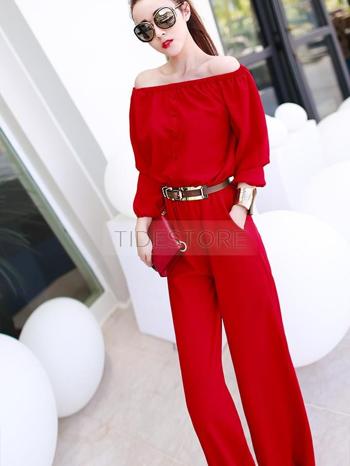 Sexy Red Long Sleeve Off Shoulder Jumpsuit Womens Jumpsuits
