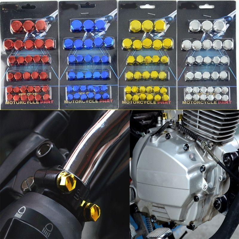 30 Sztuk Zestaw Chromowanie Plasti Motocykl Nakretka Sruby Pokrywa Cap Sruba Z Nakretka Dekoracji Dla Yamaha Kawasaki Honda Search Is Found Bike Mountain Biking Luggage