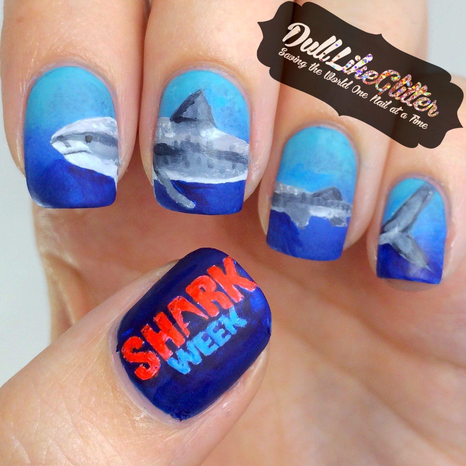 Saving The World One Nail At A Time Shark Week Nail Art Cute
