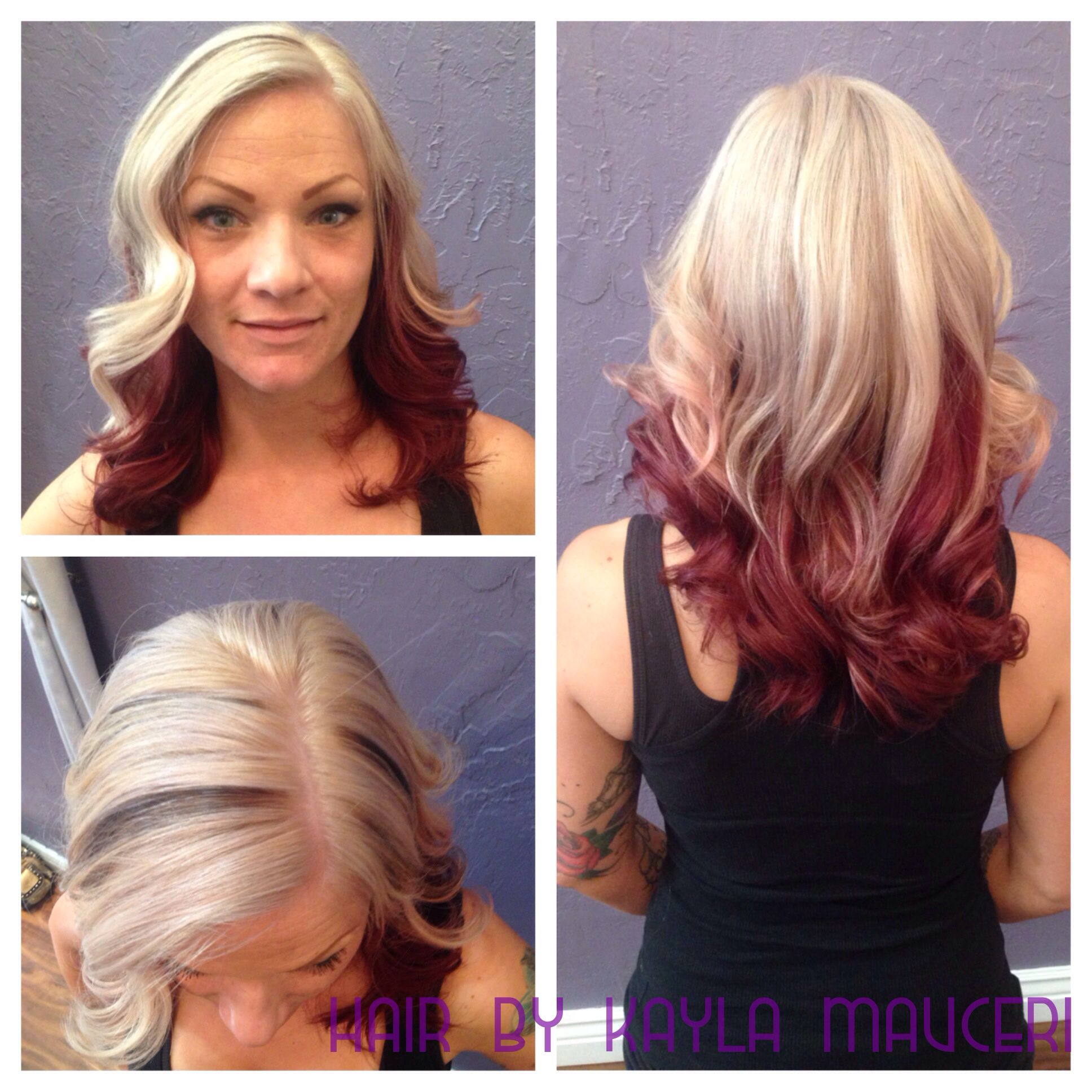 platinum blonde and red violet two tone hair | hair by kayla mauceri