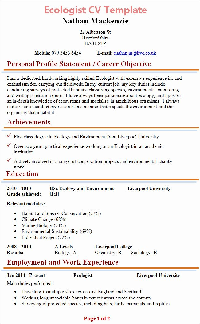 Entry Level Biology Resume Beautiful Ecologist Cv di 2020