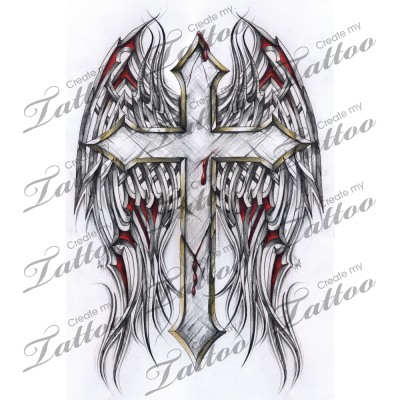Marketplace Tattoo Gothic Cross And Tribal Wings 2886
