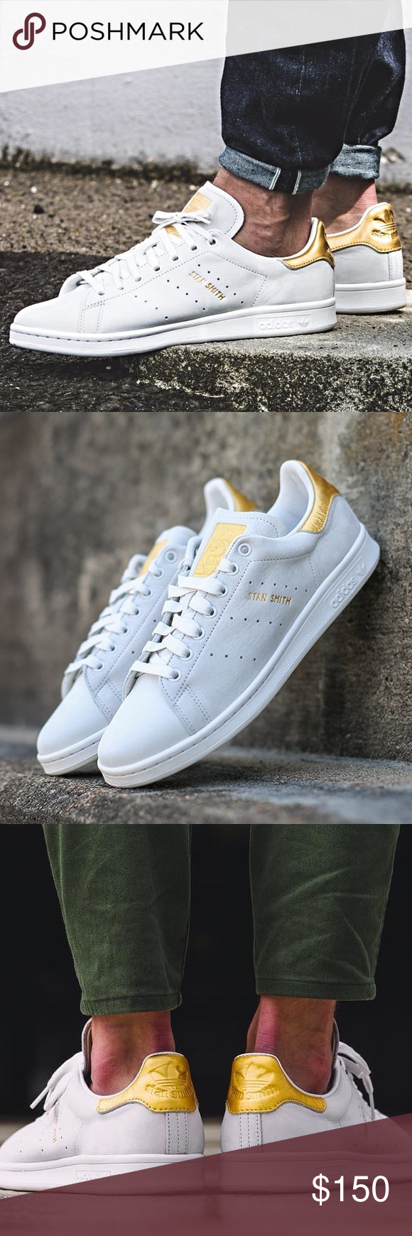 buy popular ee26a 3f7cd RARE Adidas Stan Smith 24k Gold Sneakers 6.5 8 Beautiful and ...