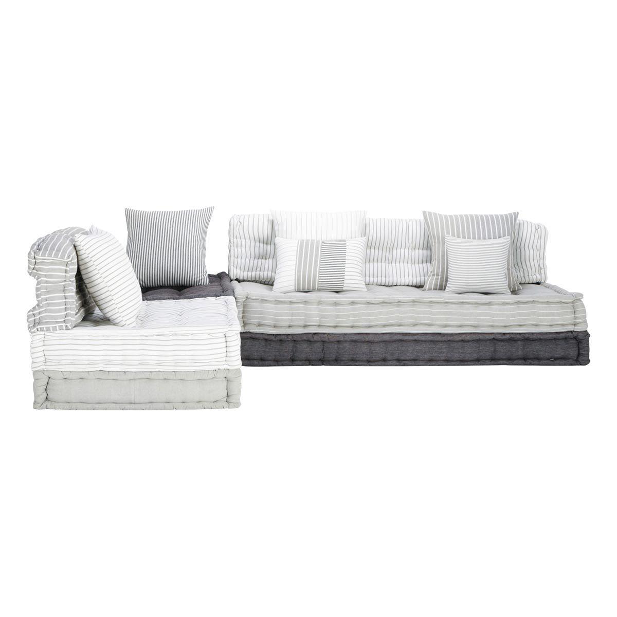 divanetto ad angolo modulabile grigio e bianco in cotone 6 posti honfleur maisons du monde. Black Bedroom Furniture Sets. Home Design Ideas