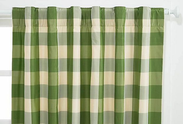Check Silk Curtain Green Ivory On Onekingslane Com
