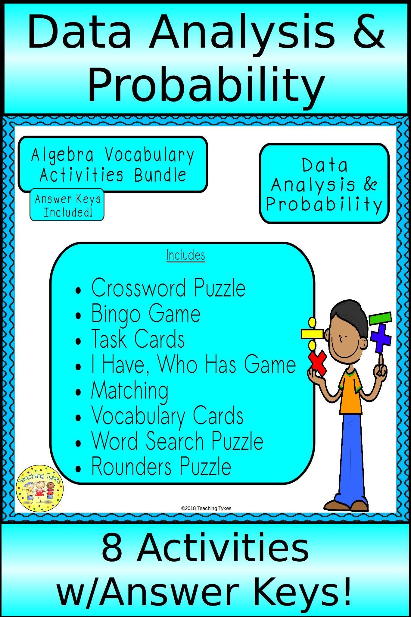 Data Analysis And Probability Algebra Bundle Vocabulary