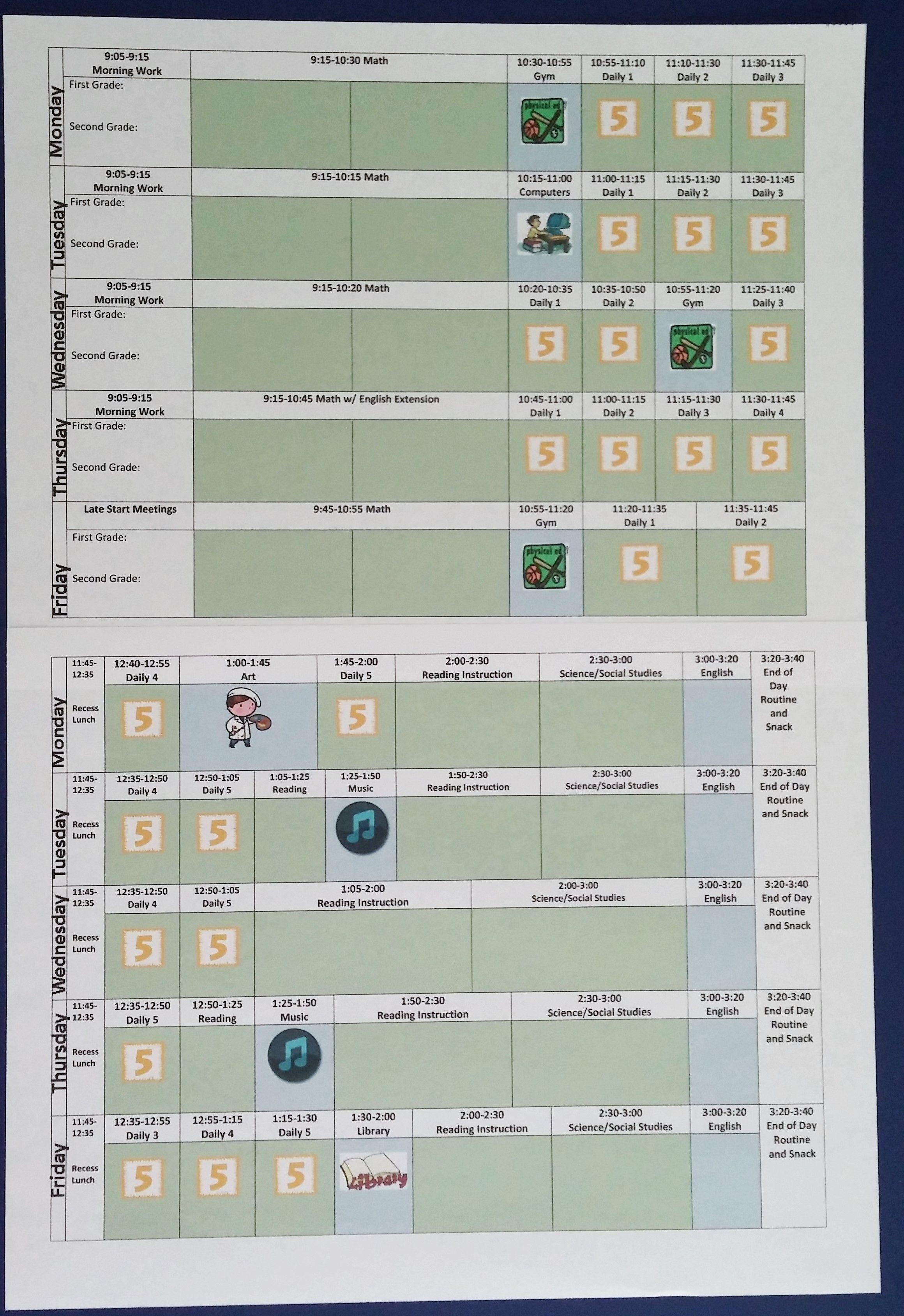 My Week At A Glance Schedule