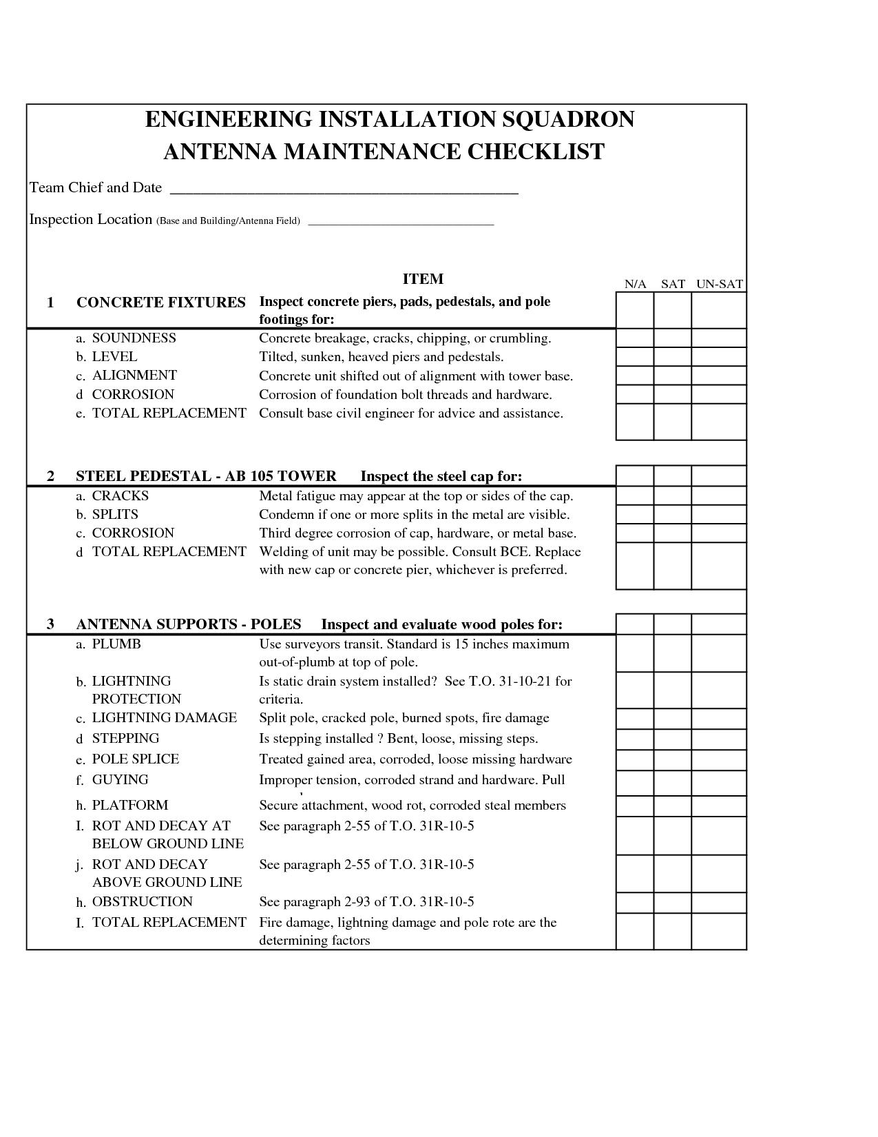 Printable Car Maintenance Checklist Form – Maintenance Checklist Template