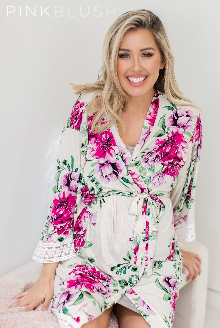 e1075d79ac398 A printed hospital maternity robe with a lace trim. Open front with tie  closure.