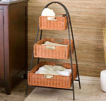 Rattan 3 Tier Basket Stand Shelf Baskets Storage Basket Shelves Storage Baskets