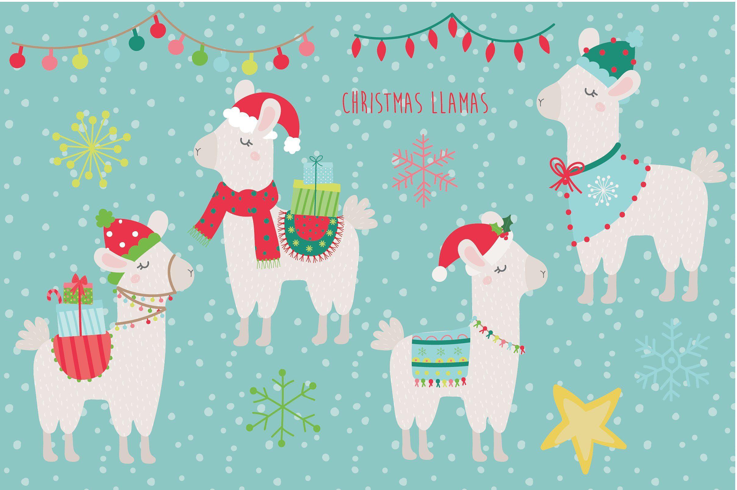 Christmas Llamas Llama Christmas Christmas Illustration Llama