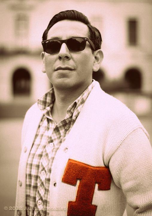One of my favorite peeps - Designer Eric Renteria wearing his Texas Longhorn varsity sweater! #Texaslonghorns