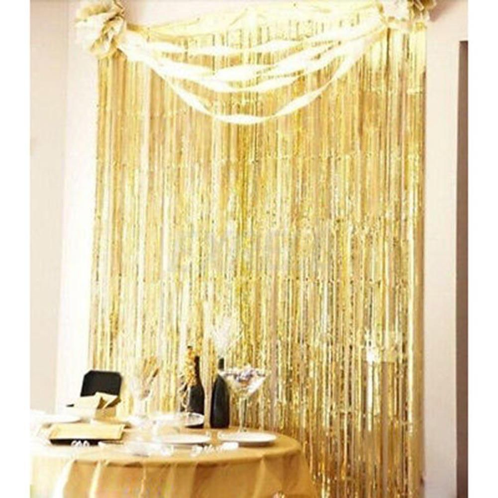 2 9 Gbp Metallic Fringe Curtain Party Foil Tinsel House Room