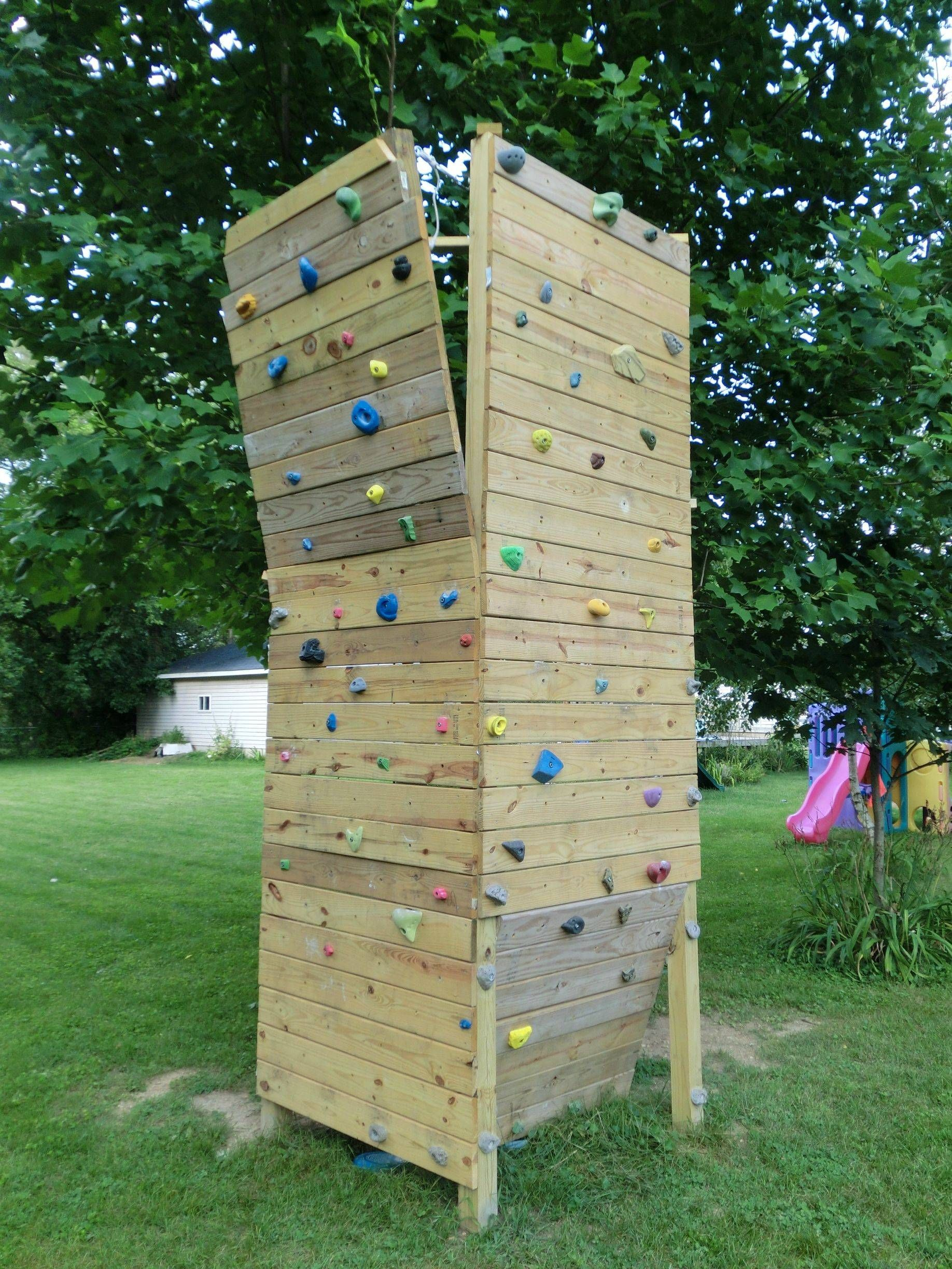Rock Wall For Kids: Finished My Backyard Bouldering Wall And Set My First