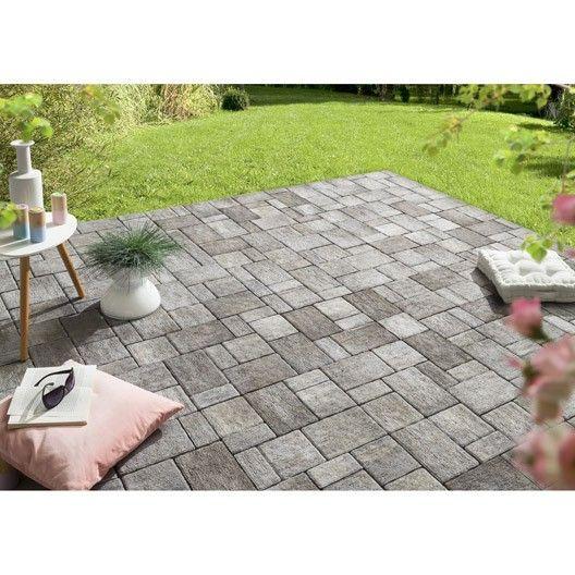 Pavé béton Valmont, gris ardoise , 16x8cm, 16x16cm, 16x24cm x Ep60 - prix d une terrasse en beton