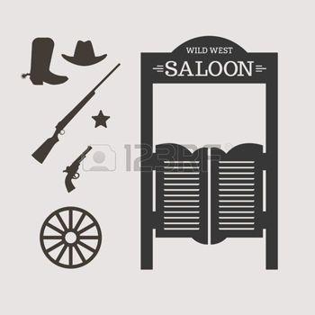 Saloon western ic nes occidentales silhouette de porte saloon vector illustration - Porte de saloon ...