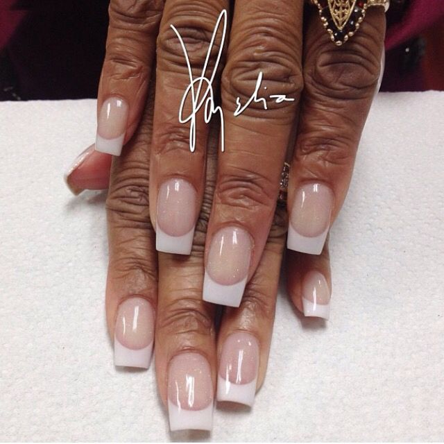 Tammy Taylor colored acrylic over natural nails.. white (WW) acrylic ...