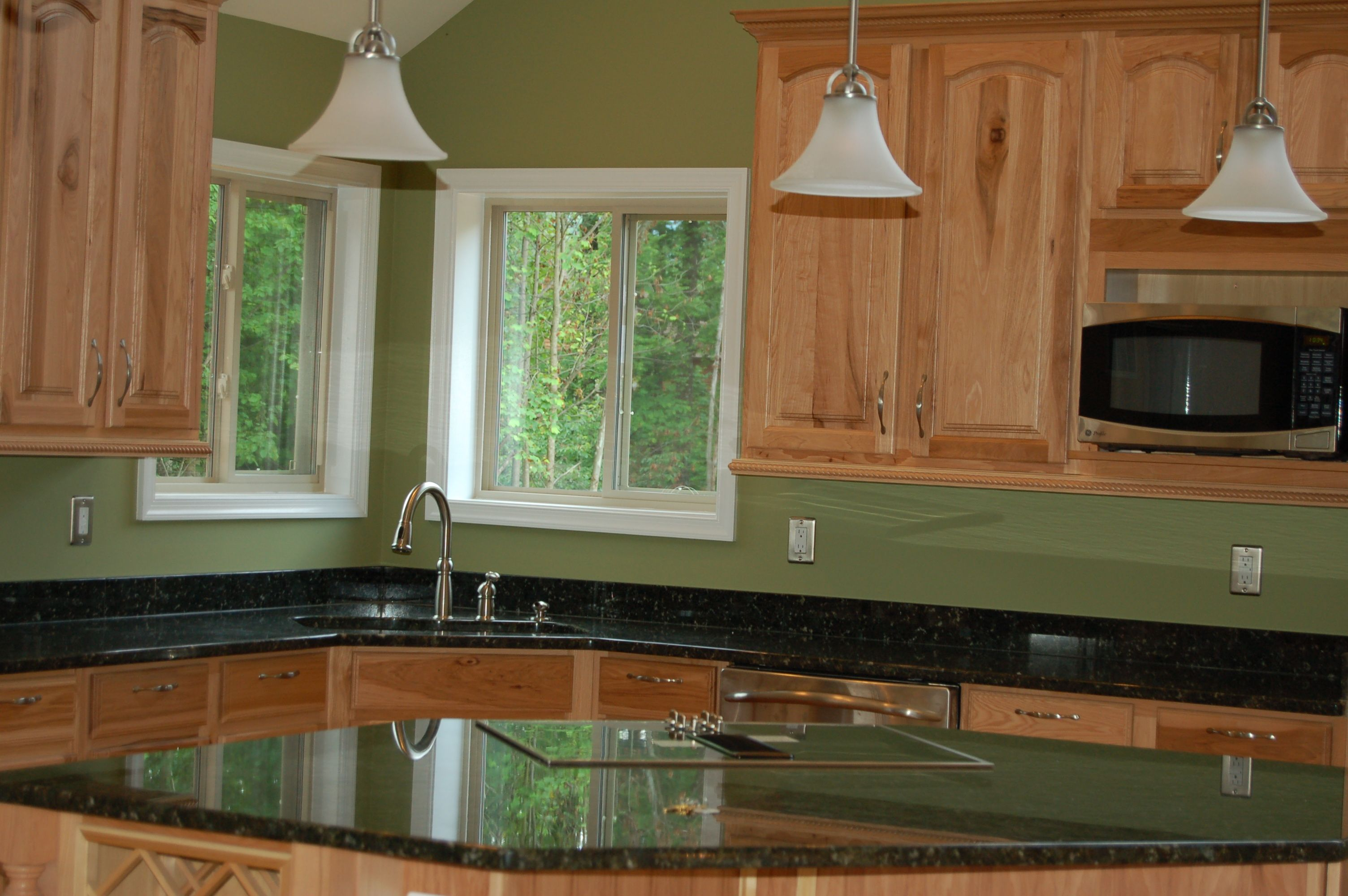 Glenwood Custom Cabinets Natural Hickory Cabinets And Black Galaxy Granite Glenwood