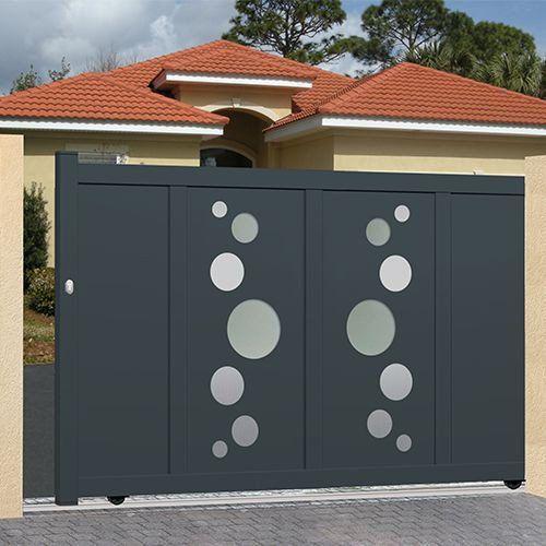 Portail Coulissant Alu Plein Droit Miami Sliding Gate Garage Door Design Steel Gate Design
