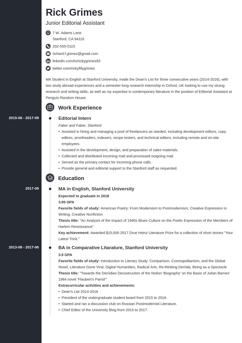 Graduate Student CV Example (Academic CV Template for