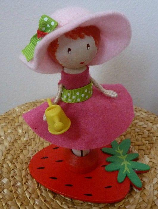 Birthday Cake Topper Strawberry Shortcake Clothespin Doll - by BabyBlossom on madeit
