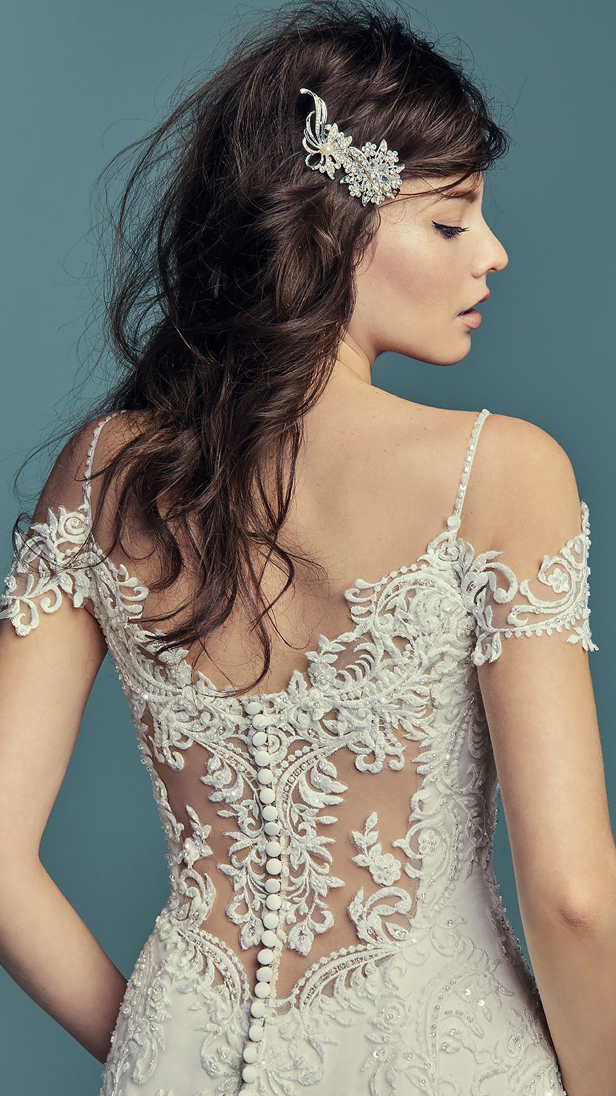 b5113cde98d  Ad Maggie Sottero wedding dress DELLA. This stunning fit-and-flare bridal  gown features beaded straps