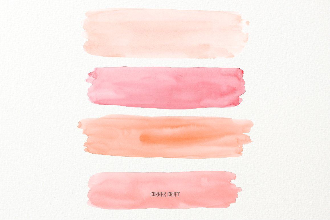 Watercolor Brush Strokes Peach Pink Brush Strokes Watercolor