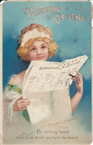 """Valentine greeting"" Ellen Clapsaddle vintage postcard, 1918, girl reading paper SOLD"