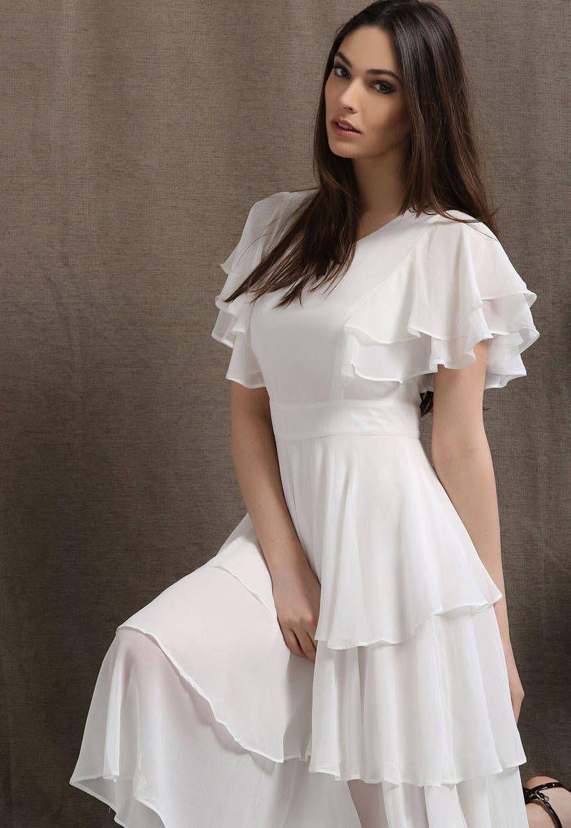 Womens dress, white chiffon dress, chiffon dress, ruffle dress, midi dress, summer dress, white prom dress, party dress C429