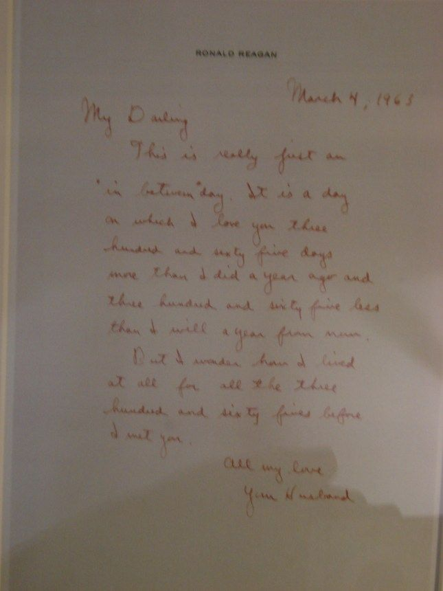 love letter from ronald to nancy reagan perhaps some of my very favorite words when