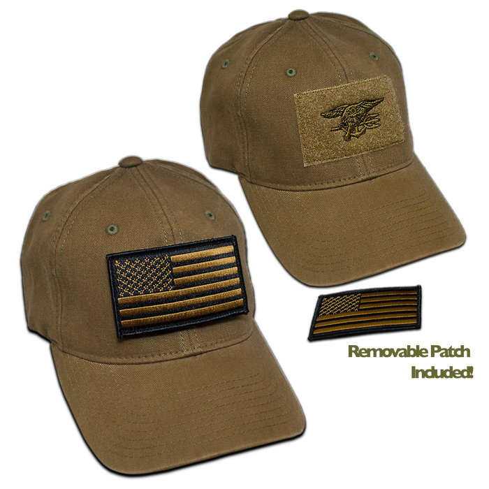 Military Green Flex Fit Velcro Hat with Embroidered Green Trident -  Removable Military Green American Flag patch with Velcro on the Back -  Flexfit Hat by ... fb20bd59638