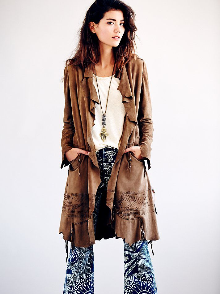 565d4bc0af34 Rock Me Suede Coat in brown by Nigel Preston   Knight (Free People)  1034.  Suede maxi coat with jagged