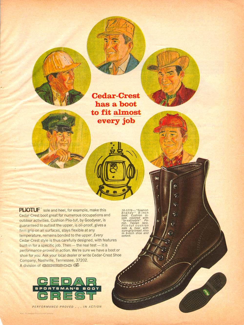 1df3bc6fc799d Vintage Ad for Cedar Crest Boots, a small company out of TN that ...