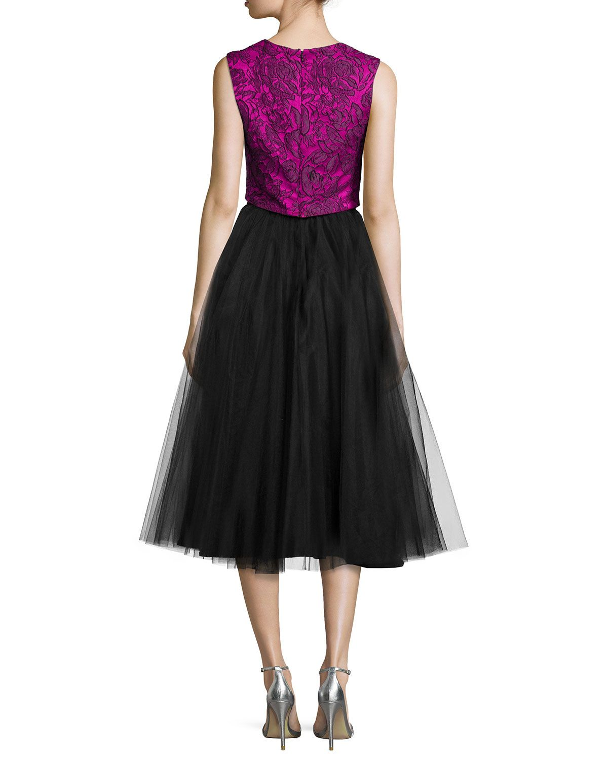 Sleeveless Lace Tea-Length Dress W/ Tulle Skirt