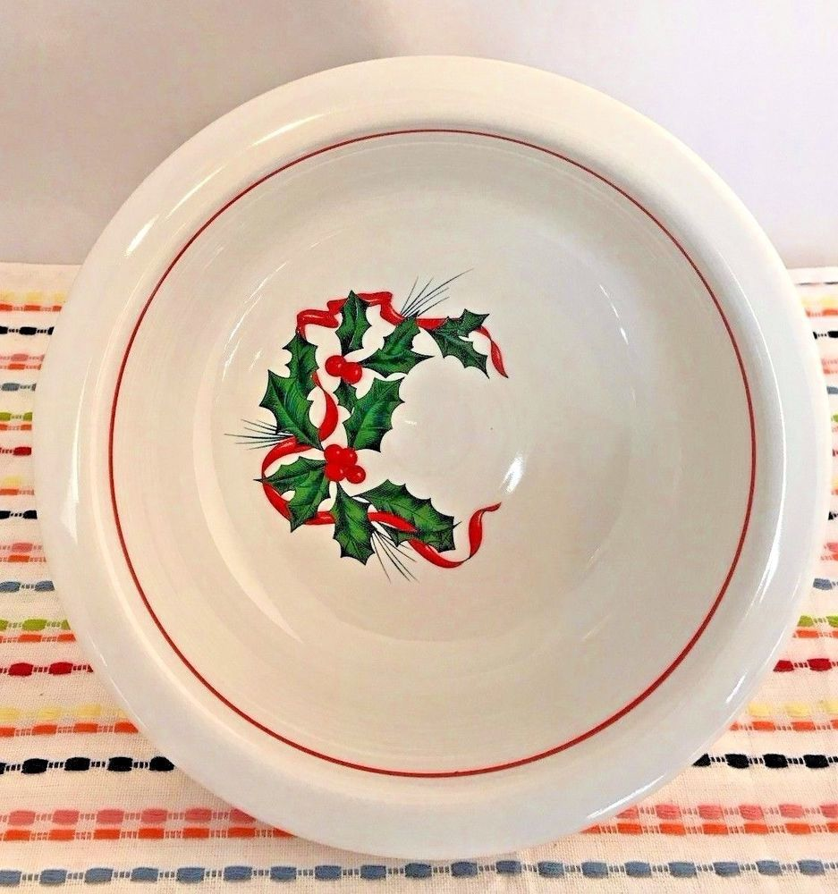 sc 1 st  Pinterest & Fiestaware Holly and Ribbon Large Bowl Fiesta Holiday Christmas Serving