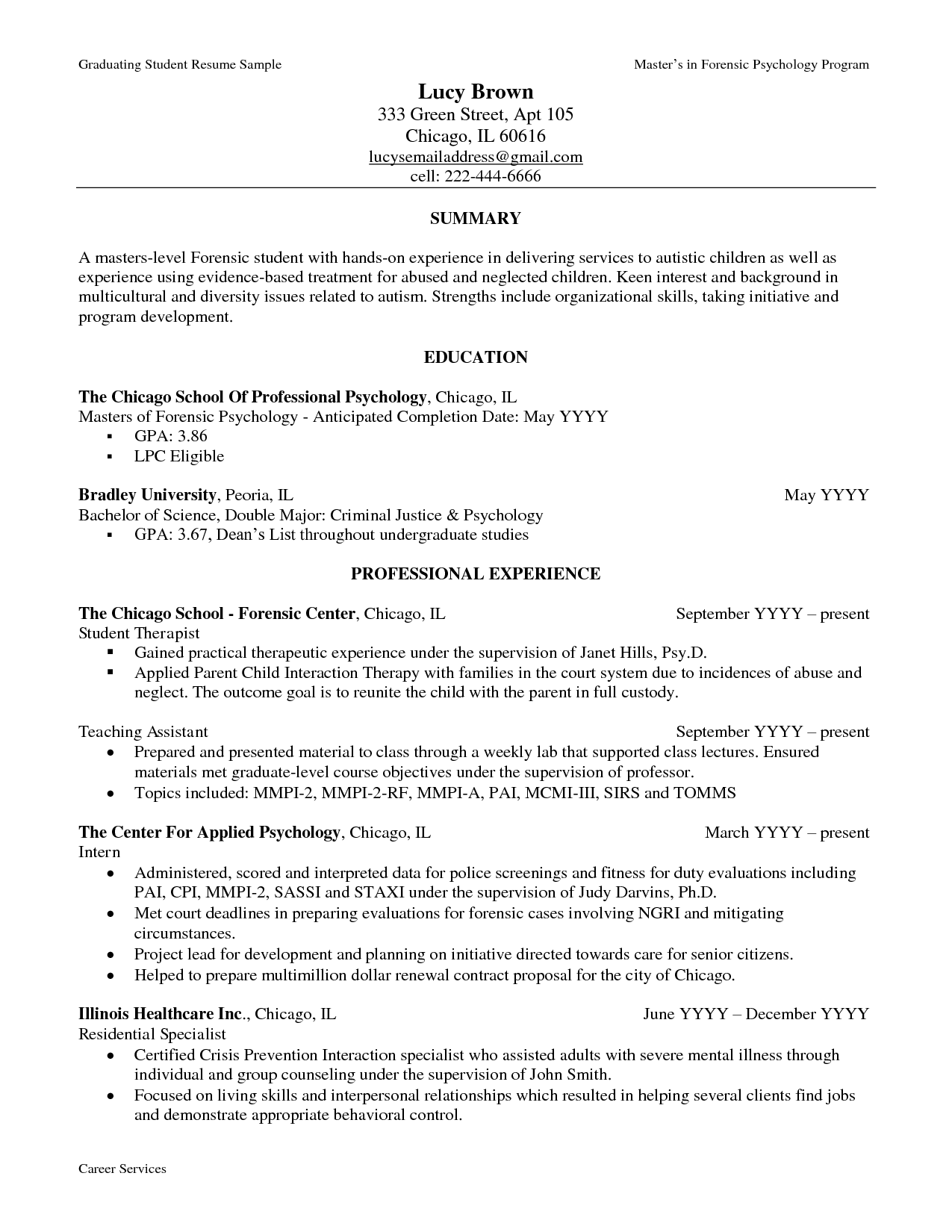 Sample Resume For Psychology Graduate resumecareer – Resume Example for College Graduate